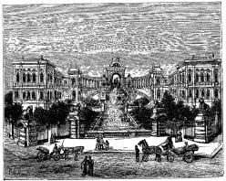 Longchamp Palace, Marseille, 1897, extract from: 'La France illustrée, géographie, histoire, administration, statistique, etc.,' volume I, by V.-A. Malte-Brun.