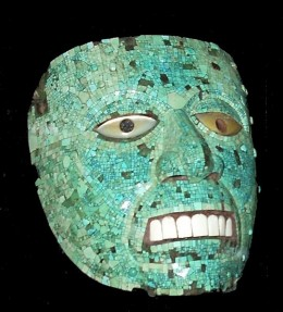 Aztec mask of the God of Fire, made of turquoise