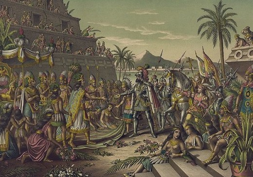 Painting depicting the meeting of Cortes and Moctezuma in Mexico