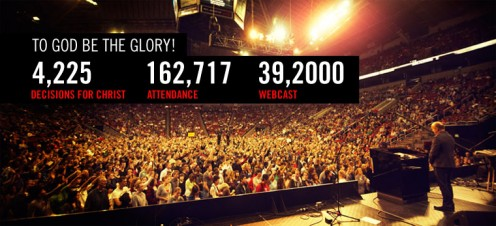 This is a massive altar call at the 2010 Seattle Harvest Crusade with Greg Laurie. My son is somewhere in that sea of people. Why would people criticize a call to accept Christ?