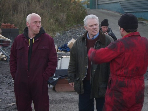 Dominic Carter, John McArdle and John Thompson on set Charlie Noades:RIP