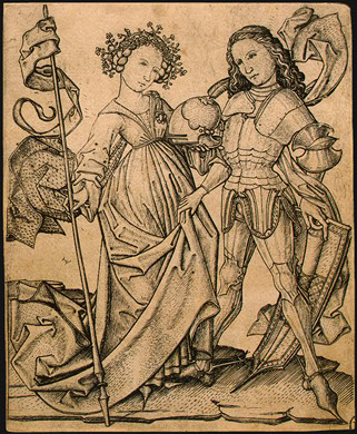 The Knight and the Lady, Engraving by: Master E. S. (1460-1465), Public Domain, via Wikimedia Commons.