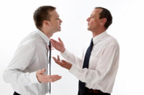 CUSTOMER ON LEFT. CUSTOMER SERVICE REP ON RIGHT. SEE WHICH ONE OF THE TWO IS MORE AGITATED.