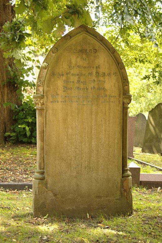 The grave and headstone of Doctor John Conolly MD DCL, (May 27, 1794 - March 5, 1866), English physician.