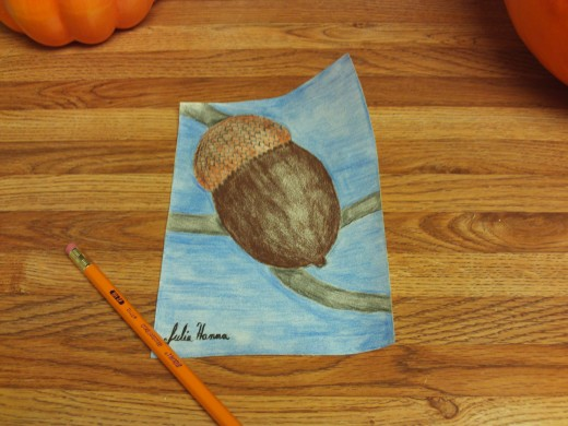 Here I have finished coloring in my acorn drawing.