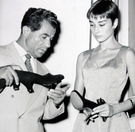 Salvatore Ferragamo and Audrey Hepburn