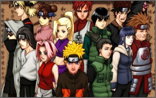 Temari, Tenten, Ino, Gaara, Rock Lee, Kiba, Kankurou, Shino, Neji, Sakura, Naruto, Shikamaru, Hinata, and Chouji as they appear in Naruto Shippuuden