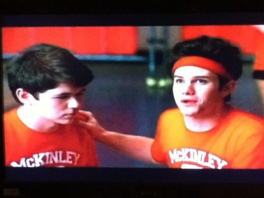 Kurt sticks up for Rory on the dodgeball court.