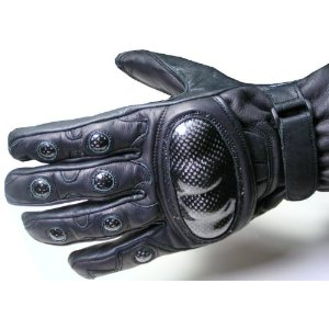 Kevlar black leather motocycle gloves with knuckle protection