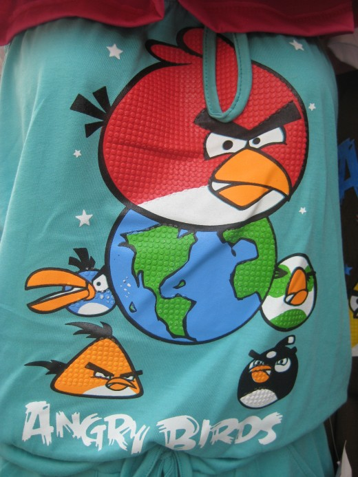 Angry birds logos and prints are everywhere.