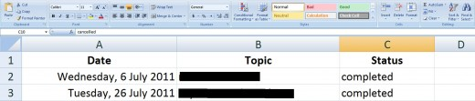 A screenshot of the 3 basic column headings in the spreadsheet