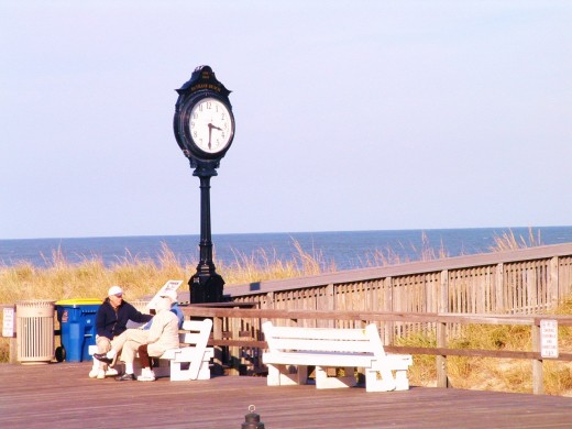 Old fashioned clock at Bethany Beach, Delaware, boardwalk.