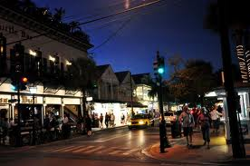 Duval Street thrives on nightlife. Here is a view of Duval Street shortly after sunset.