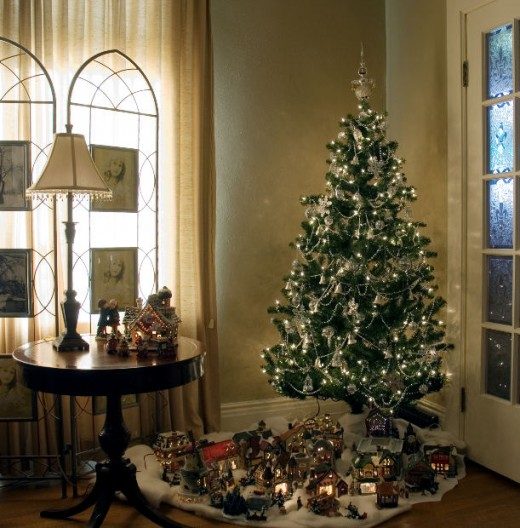 Image: Christmas Tree With Christmas Village Underneath