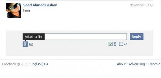 Facebook email attach