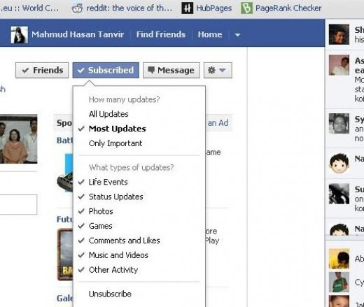 Facebook subscribe option