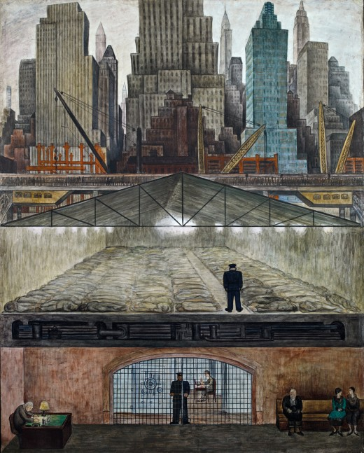Frozen Assets In Frozen Assets, Rivera coupled his appreciation for New York's distinctive vertical architecture with a potent critique of the city's economic inequities. The panel's upper register features a dramatic sequence of largely recognizable