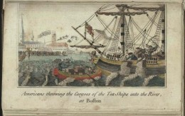Americans throwing Cargoes of the Tea Ships into the River, at Boston