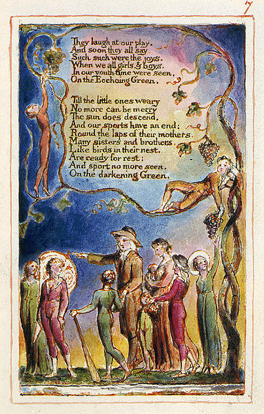 "A page of William Blake's ""The Ecchoing Green."""