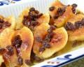 Maple Butter Glazed Walnut Stuffed Baked Pears