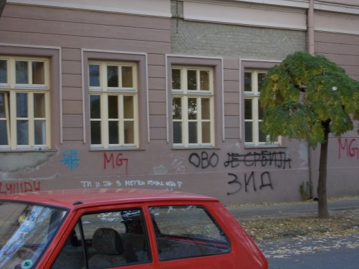 """This is Serbia"" - graffito on the wall of High Economic School - located in the center of Bečej."