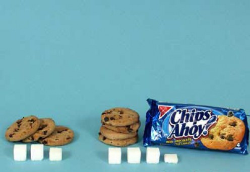3 chocolate chip cookies = 11g sugar