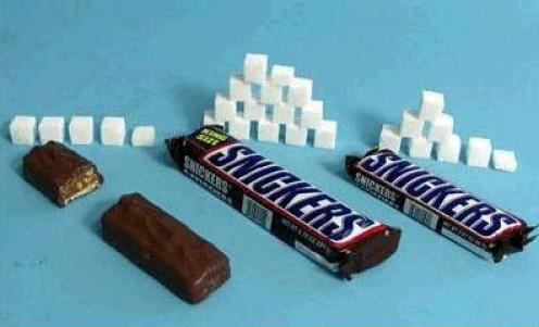 Snickers regular = 28g sugar