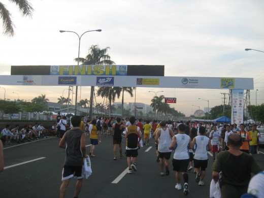 Runners finishing the 5K race