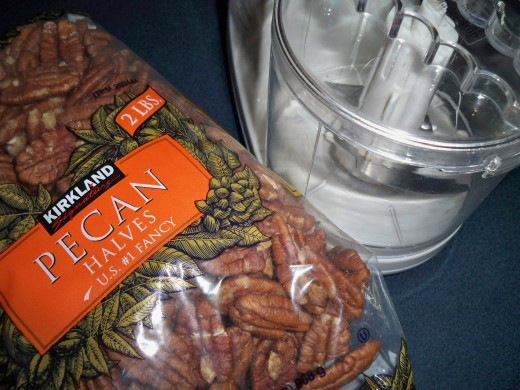 A chopper makes fine pecan pieces for this recipes.