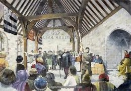 A legal procedure being conducted with the main hall of Pickering Castle - there were many instances of land-grabbing by ambitious Norman lords. However, a man had to be careful of accusing the incomers of illegal acquisitions.