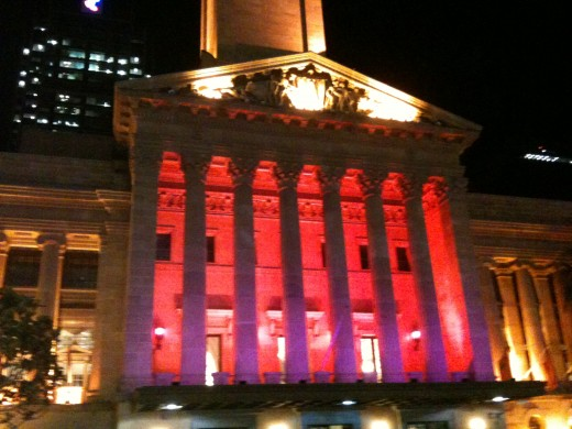 Brisbane CityTown Hall entrance  filmed at night using iPhone 3GS