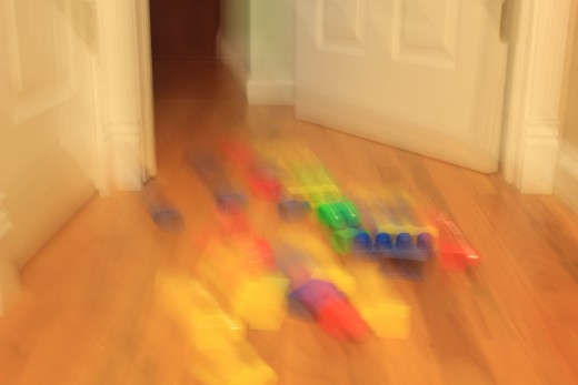 I trip on toys in the hallway.  I thought I put these away last night?  Ouch!
