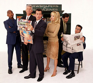 "The cast of ""Spin City"" after Michael J. Fox's departure."