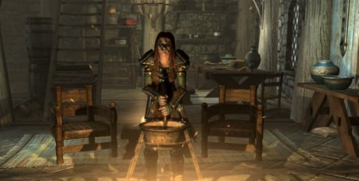 Aela the Huntress, respected member of the Companions cooks me a meal.