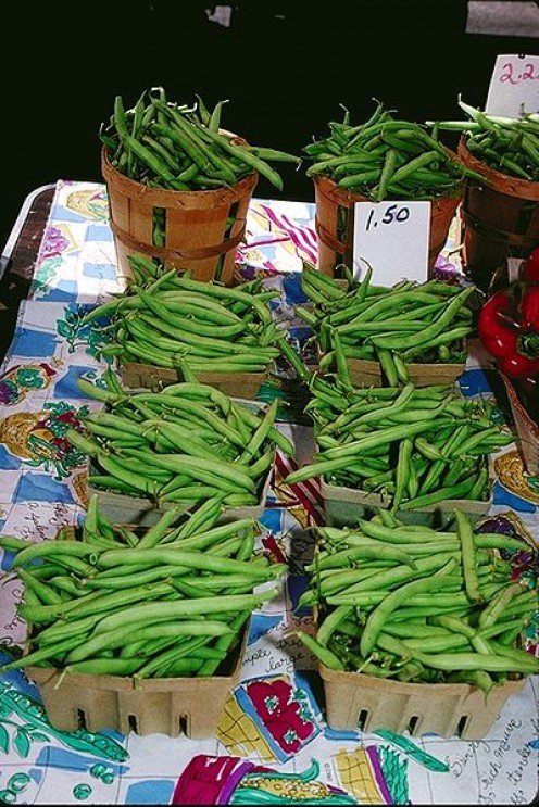 Green Beans for sale at a Farmer's Market, an increasingly popular weekly event in American communities.