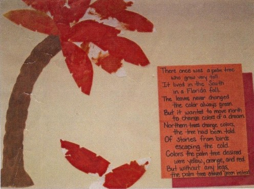 Post thematic fall writing such as poems on classroom walls to enhance the learning experience