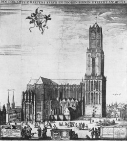 Utrecht Cathedral, before the summer storm of 1 August 1674 destroyed the nave