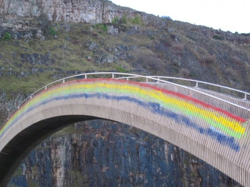 """The Rainbow Bridge near Old Colwyn, Conwy in Great Britain. It reminds people of the poem to pets called """"The Rainbow Bridge."""" They cross the bridge and wait for us in Heaven."""
