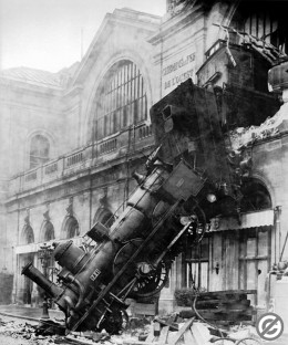 Train wreck at Montparnasse Station, Paris, France, 1895. This image is in the public domain because its copyright has expired.