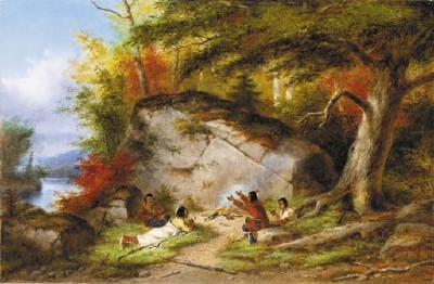 Indian Campfire at Big Rock, oil painting by Cornelius Krieghoff