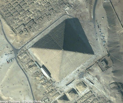 The Great Pyramid, Giza from The Voyager, CC Taken by Quickbird, image courtesy of Digital Globe