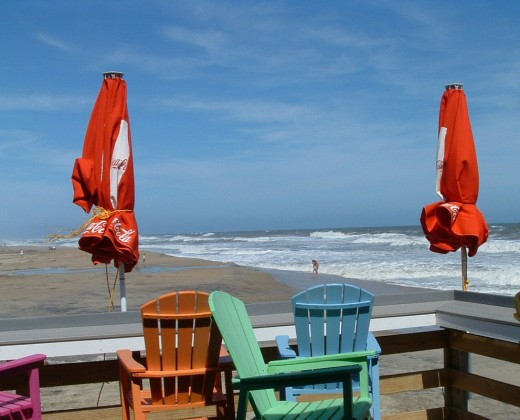Colorful seating on fishing pier.