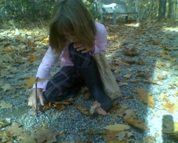 My daughter building a fairy house at THBG