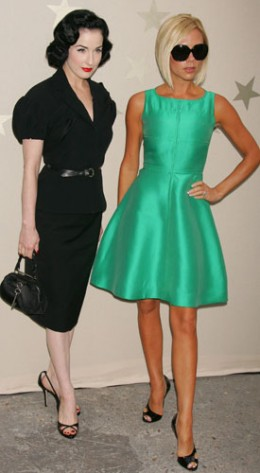 Dita Von Teese and Victoria Beckham wearing 1950s style dresses.