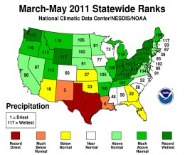 US Precipitation Averages - Spring 2011