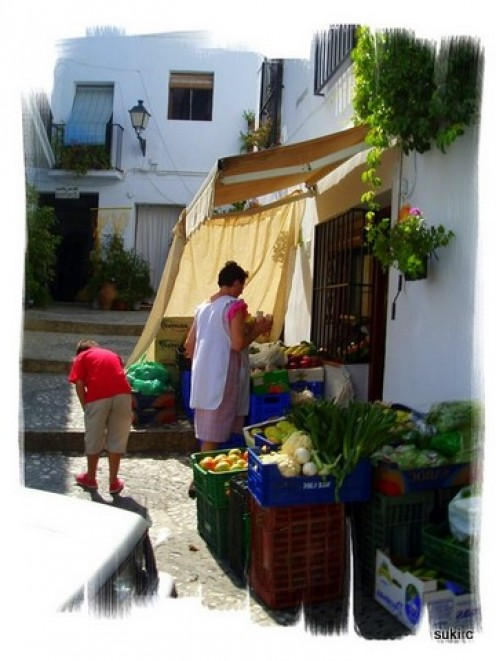 A street scene in Frigiliana - a very pretty white village in the hills behind Nerja.