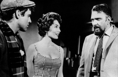 "Seymour Krelboyne (Jonathan Haze), Audrey Fulquard (Jackie Joseph) and Gravis Mushnick (Mel Welles), from Roger Corman's ""Little Shop Of Horrors""."