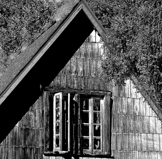 """The Shuttered Room.."" an empty old lodge with a past..an owl flaps in and out of this window.."