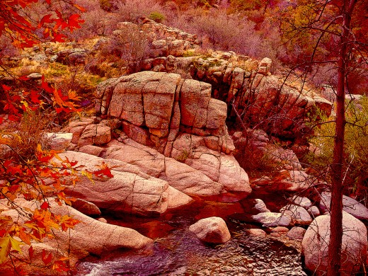 "I softed the rocks using ""poster edges"" on Photo shop and brought out the warm tones.."