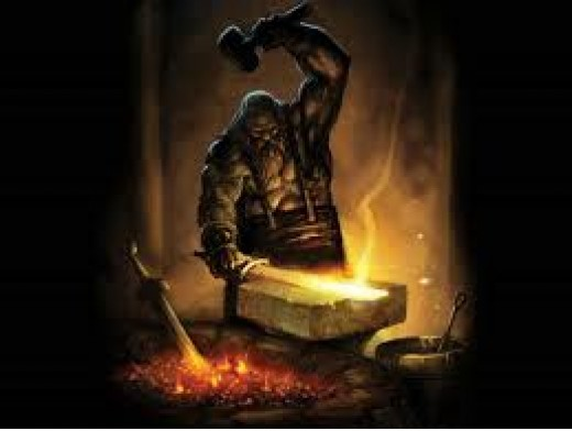Hephaestus, the Greek god at work in his Metal forge